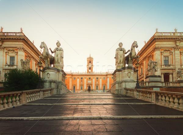 Stock fotó: Tér · Róma · Olaszország · bejárat · lépcsősor · napfelkelte