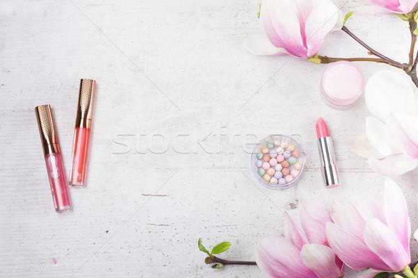 Makijaż kosmetyki zawodowych magnolia kwiaty twarz Zdjęcia stock © neirfy