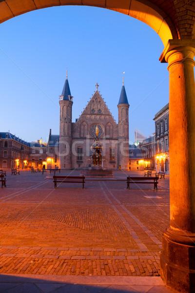 Nederlands parlement holland nacht gebouw stad Stockfoto © neirfy