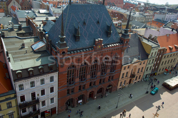 Tribunal marché carré Pologne maison printemps Photo stock © neirfy