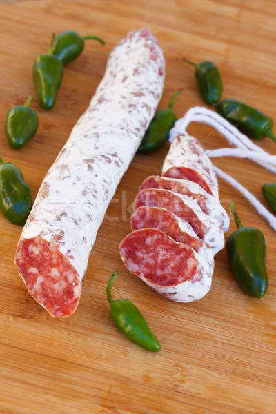 Meat fuet sausages with green peppers Stock photo © neirfy