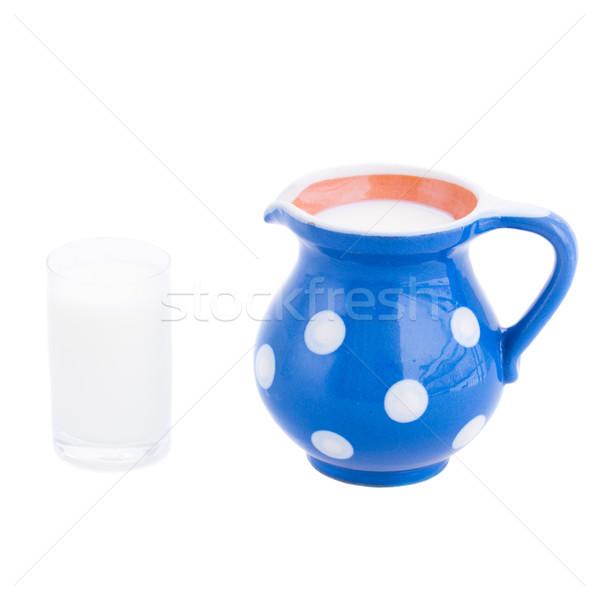 glass and jug of milk Stock photo © neirfy