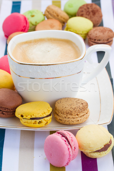 cup of coffee and plate of  macaroons Stock photo © neirfy