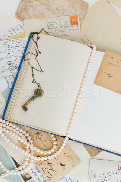 empty vintage book page with key Stock photo © neirfy