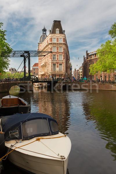 Cidade velha Amsterdam barco canal anel Holanda Foto stock © neirfy