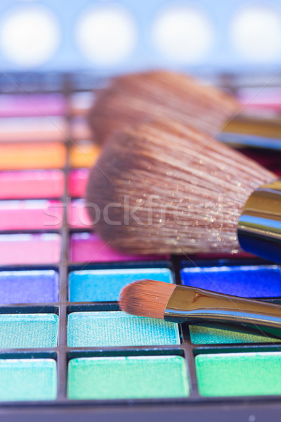brushe on eye shadows palette Stock photo © neirfy