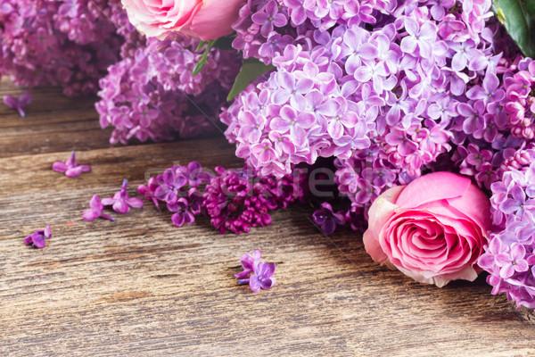 свежие сирень цветы Purple розовый деревянный стол Сток-фото © neirfy