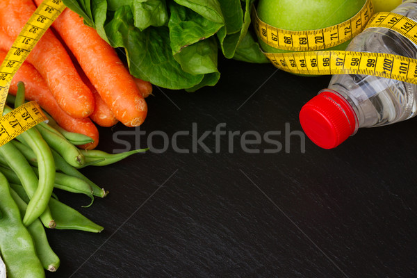 здоровое питание таблице здорового Сырая пища воды копия пространства Сток-фото © neirfy