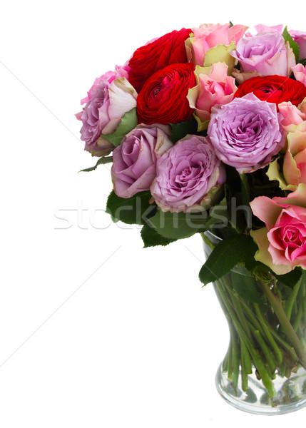Сток-фото: букет · свежие · роз · стекла · ваза