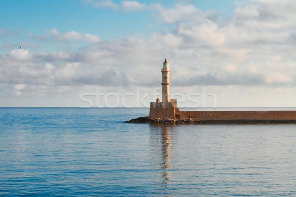 Stock fotó: Görögország · tenger · világítótorony · napos · nyár · reggel