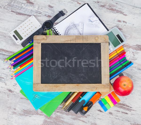 доске школьные принадлежности пусто герой копия пространства Сток-фото © neirfy