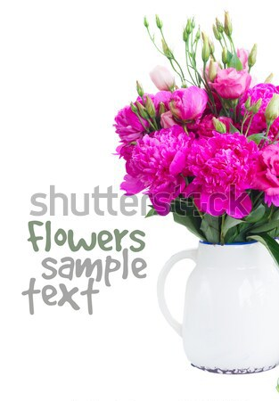 Bright pink peony and eustoma flowers Stock photo © neirfy