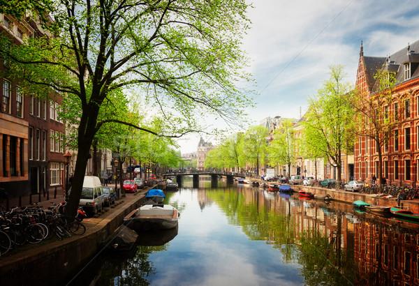 運河 リング アムステルダム 春 オランダ レトロな ストックフォト © neirfy