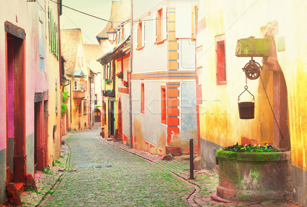 Riquewihr, beautiful town of Alsace, France Stock photo © neirfy