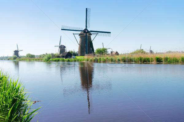 Holland szélmalom folyó hagyományos nyár nap Stock fotó © neirfy