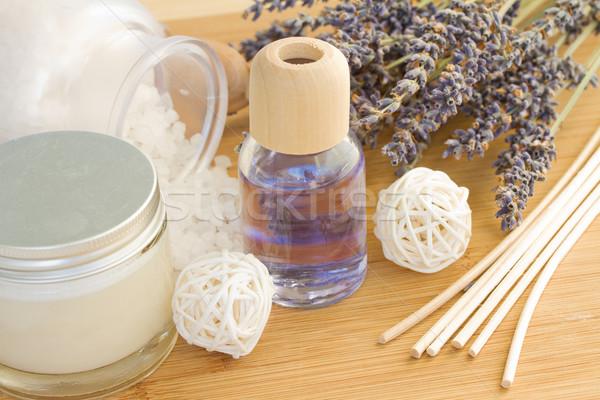 Levendula fürdő beállítások fa asztal felület egészség Stock fotó © neirfy
