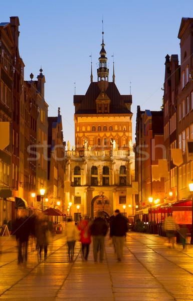 Golden gate notte danzica Polonia città vecchia città Foto d'archivio © neirfy