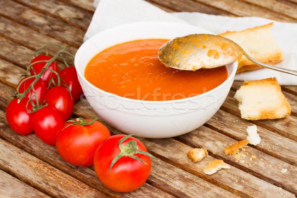 Gazpacho dish close up Stock photo © neirfy