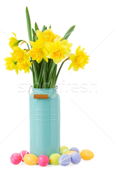 bouquet of daffodils flowers with easter eggs Stock photo © neirfy