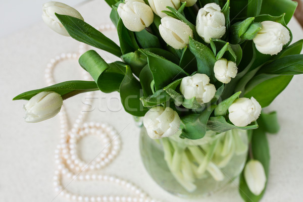 bouquet of fresh  white  tulips Stock photo © neirfy