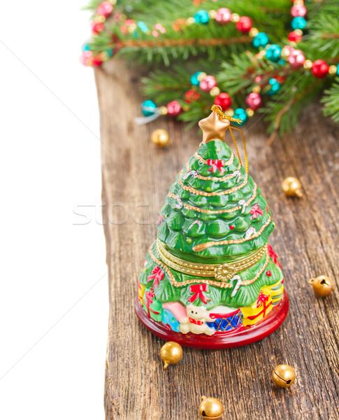Natale evergreen albero legno confine isolato Foto d'archivio © neirfy