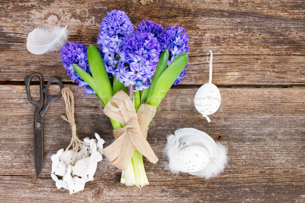 Mavi sümbül Paskalya ayarlamak yukarı çiçekler Stok fotoğraf © neirfy