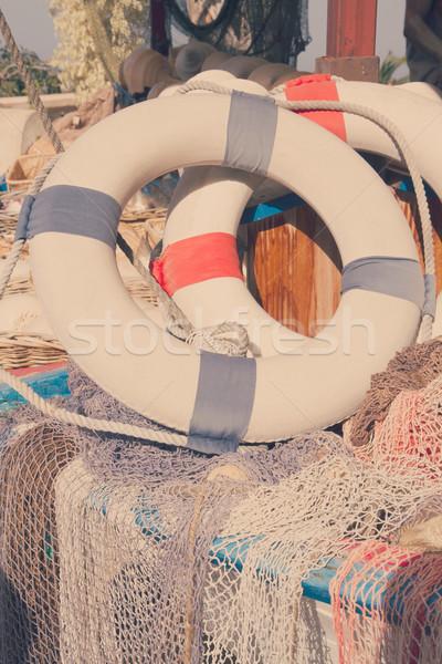 Salvagente due marine net retro acqua Foto d'archivio © neirfy