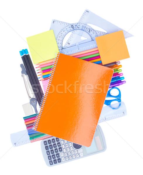 Notebook tanszerek izolált fehér iroda könyvek Stock fotó © neirfy