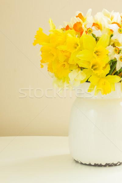 Vers voorjaar narcissen witte pot tabel Stockfoto © neirfy