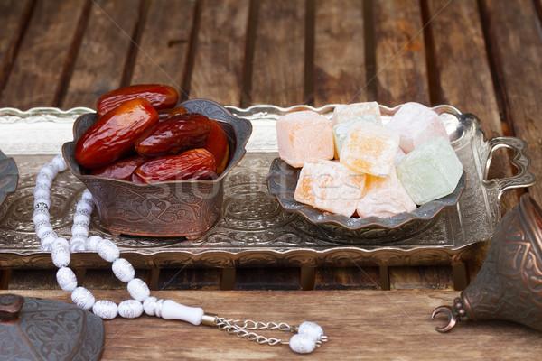 Turkish delights with tasbih Stock photo © neirfy