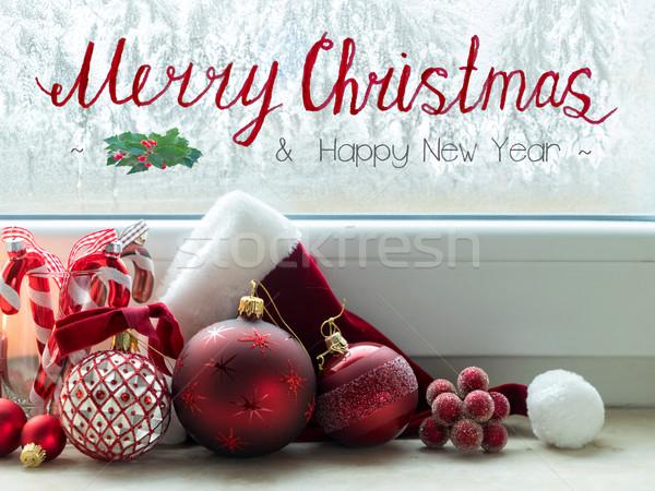 Christmas scène brandend licht decoraties winter Stockfoto © neirfy