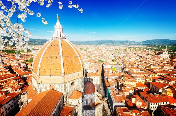 Stock fotó: Mikulás · Florence · Olaszország · óváros · tetők · katedrális