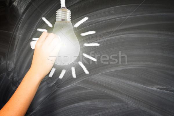 Stockfoto: Hand · krijt · schilderij · lamp