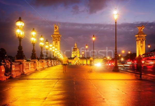 Сток-фото: моста · Париж · Франция · фиолетовый · ретро · город