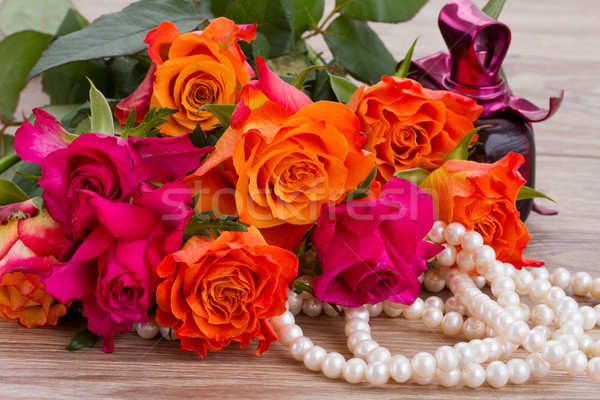 bouquet of roses with pearls Stock photo © neirfy