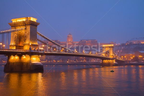ストックフォト: ブダペスト · 1泊 · ハンガリー · チェーン · 橋 · ロイヤル
