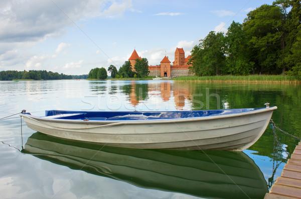 Meer Litouwen boot zomer kasteel baksteen Stockfoto © neirfy