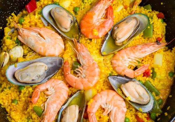 Paella -traditional spanish dish background Stock photo © neirfy