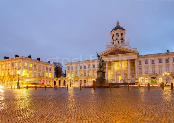 Kerk Brussel van koning nacht stad Stockfoto © neirfy