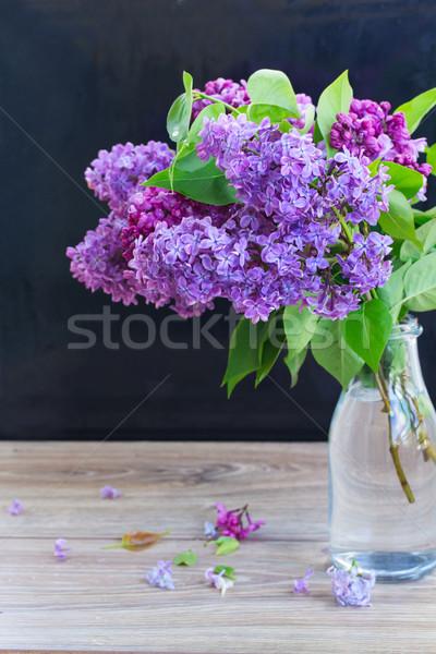 букет сирень черный цветы деревянный стол Пасху Сток-фото © neirfy