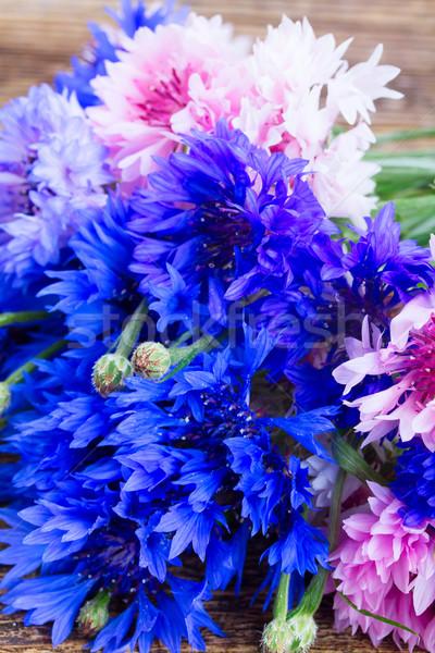 Niebieski świeże drewniany stół kwiat tle Zdjęcia stock © neirfy