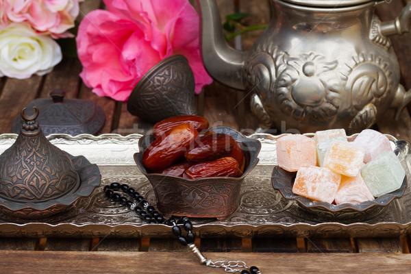 Turco flores plata bandeja alimentos Foto stock © neirfy