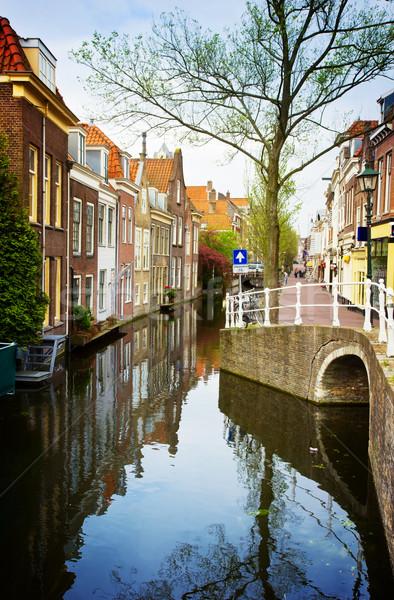 старый город Голландии красочный улице ретро воды Сток-фото © neirfy