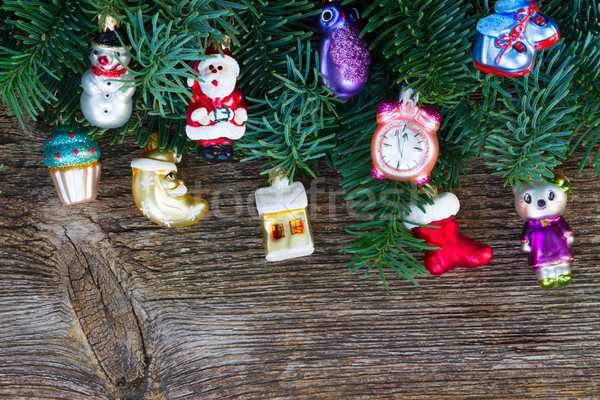 Christmas vers evergreen boom decoraties Stockfoto © neirfy