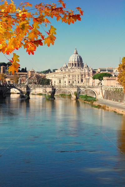 Cathédrale pont rivière eau Rome automne Photo stock © neirfy
