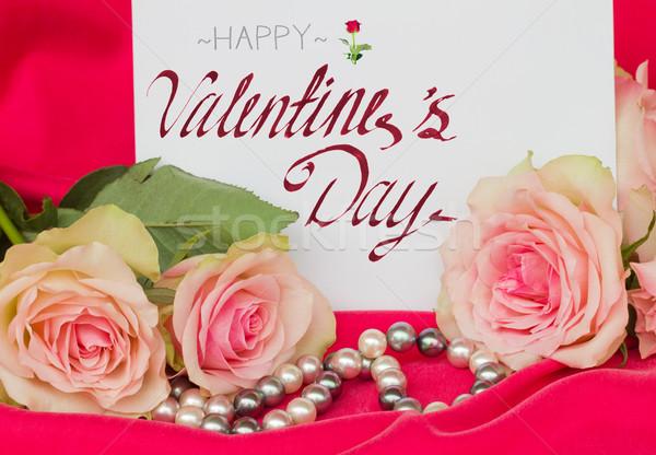 Pembe güller boş kart inciler mutlu sevgililer günü Stok fotoğraf © neirfy