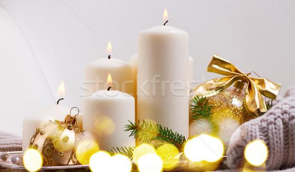 Yanan advent mumlar dört beyaz Noel Stok fotoğraf © neirfy