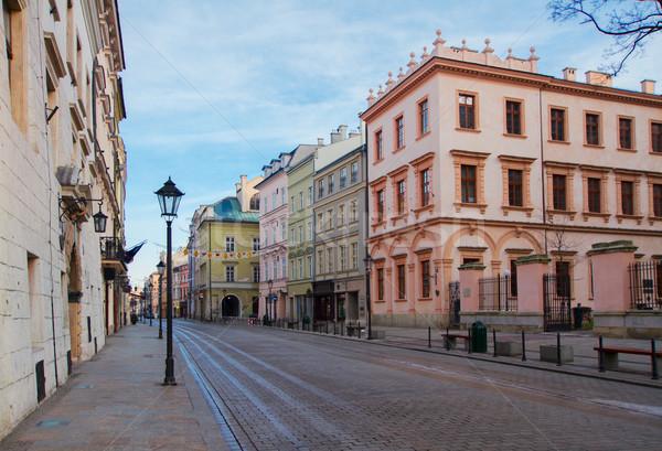 Ulicy starych Polska średniowiecznej miasta Zdjęcia stock © neirfy