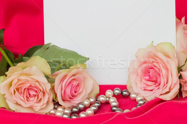 ピンク バラ ブランクカード 真珠 花 結婚式 ストックフォト © neirfy