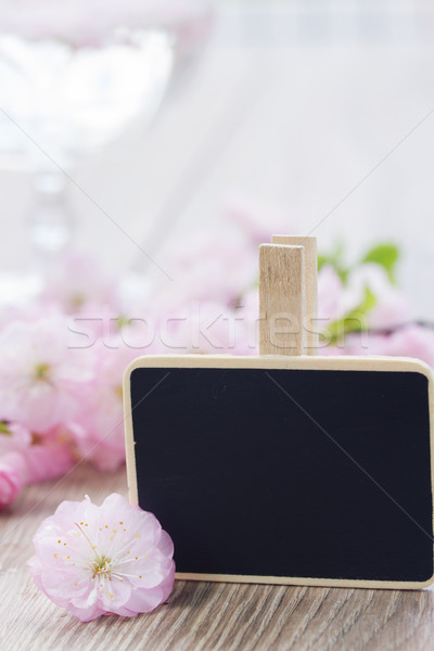 pink  cherry flowers with  black chalk board Stock photo © neirfy